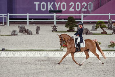 Great Britain's Charlotte Dujardin and Gio produced a fabulous test in the Grand Prix Team and Individual qualifier at the Tokyo 2020 Olympic Games in Baji Koen Equestrian Park today. Photo credit: FEI/Christophe Taniere